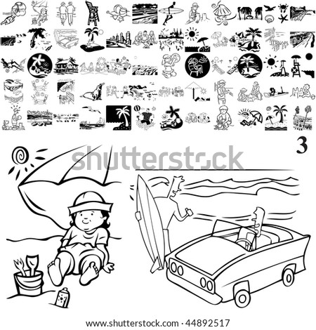 Beach set of black sketch. Part 103-3. Isolated groups and layers. - stock vector
