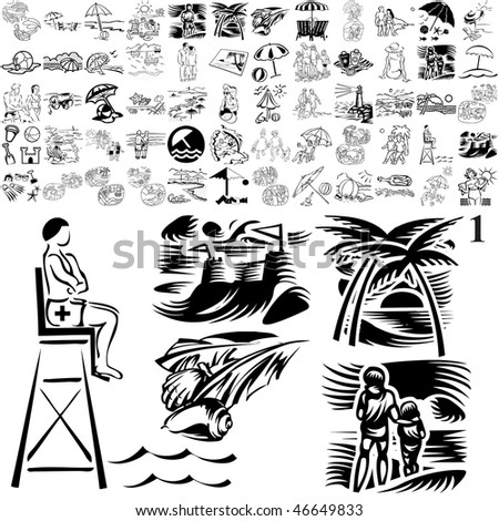 Beach set of black sketch. Part 106-11. Isolated groups and layers.
