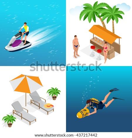 Beach set summer symbols vector icons. Summer symbols travel sun sea and vacation set summertime symbols. Summer time symbols tourism, nature tropical summer symbols flat icons. - stock vector