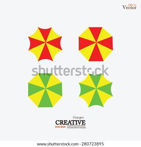 Beach Set Symbols Sun Umbrellas Vector Stock Vector 280723895