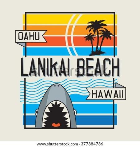 Beach shark typography, t-shirt graphics, vectors - stock vector