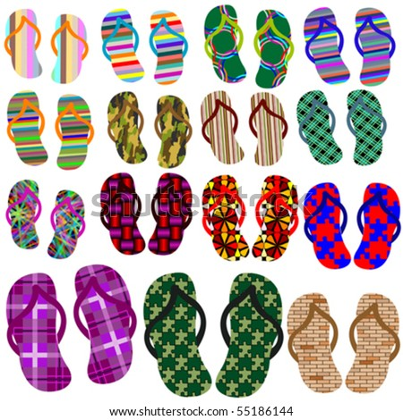 beach shoes collection against white background, abstract vector art illustration