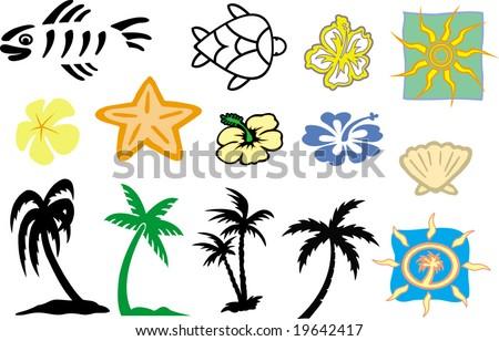 beach stuff - stock vector