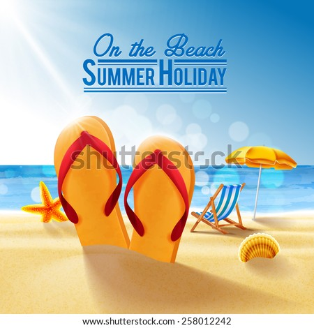 beach summer - stock vector