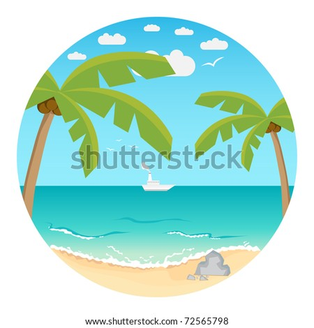 Beach. Summer background. Vector illustration.