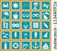 beach summer break complete sign pictogram set collection - stock vector