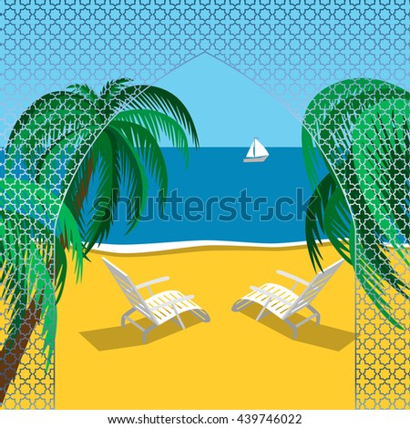 Beach summer landscape. Vacation, relaxation, ocean, chaise-longue, yacht, palm. - stock vector