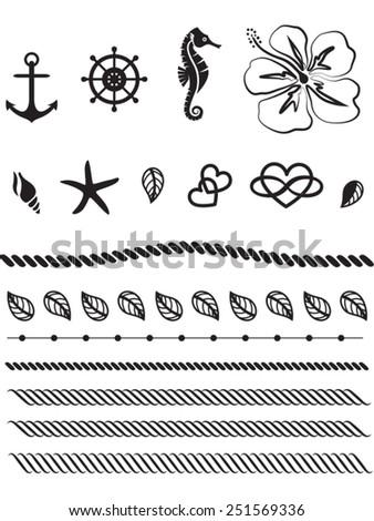 Beach Tattoo, Sea, Beachlife, Rudder, Anchor, Vector - stock vector