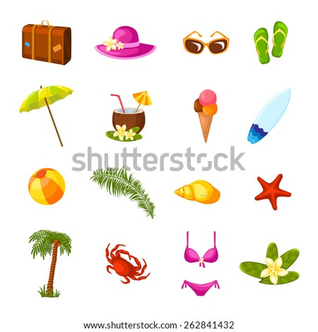 Beach time vacation surf coconut milk holiday paradise weekend bikini party multicolored icons set isolated vector illustration - stock vector