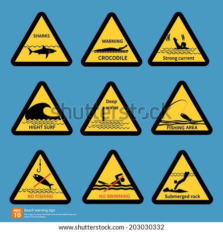 Beach travel warning sing vector symbol design - stock vector