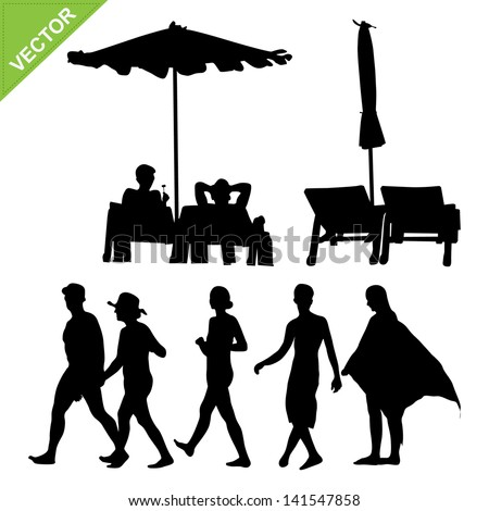 Beach umbrella and deck and peoples silhouette vector