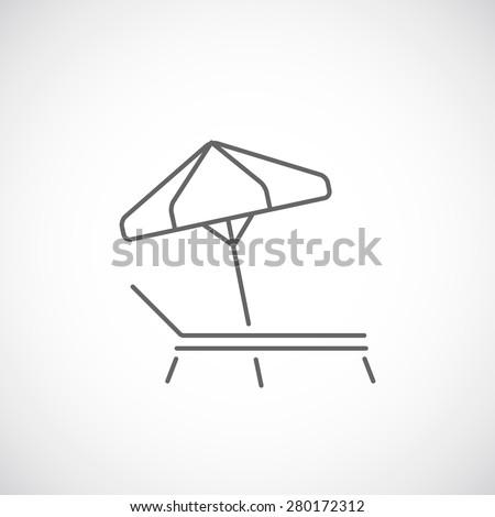 Beach umbrella and deck chair  line icon, summer concept. - stock vector