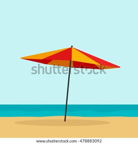beach umbrella vector illustration isolated flat stock vector hd rh shutterstock com cartoon picture of beach umbrella Cartoon Beach Scene