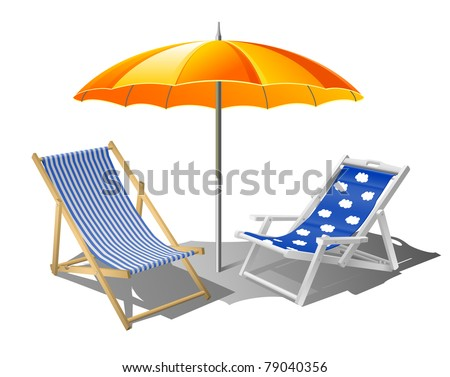 Beach umbrella with deck chairs eps8 - stock vector
