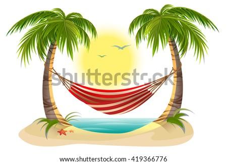 beach vacation  hammock between palm trees  cartoon illustration in vector format hammock stock images royalty free images  u0026 vectors   shutterstock  rh   shutterstock