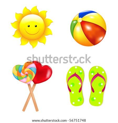 Beach Vector Set From With Lollipops, Footwear, Beach Ball And Sun - stock vector