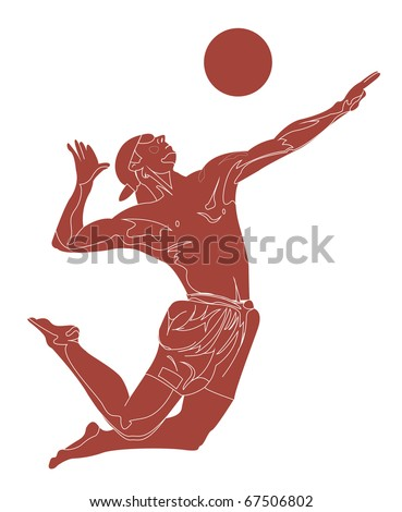 Beach volley player - stock vector