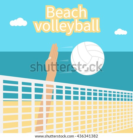 Beach Volleyball. Hand athlete beating at the volleyball ball. Template for the competition in volleyball. Can be used as a poster. Summer sports near the sea on the beach. - stock vector