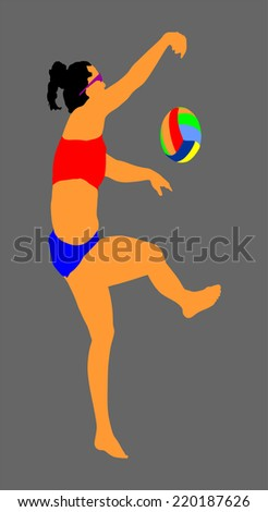 Beach volleyball player vector illustration isolated on background. Lady woman player at service serving.  - stock vector
