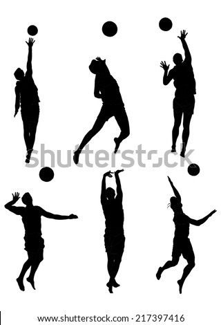 Beach volleyball players vector silhouette isolated on white background. Beach volleyball vector set.