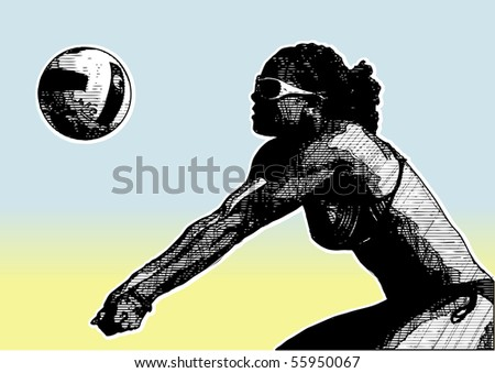 beach volleyball poster background 2 - stock vector