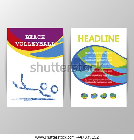 Beach Volleyball 2016 Summer Games cover design. Golden medal event. Sporting Championship International Beach Volley Match Competition. Sport Info graphic olympics Volley Vector. Olympiad. RIO 2016 - stock vector