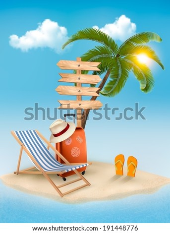 Beach with a palm tree, a direction sign and a beach chair. Summer vacation concept background. Vector.  - stock vector