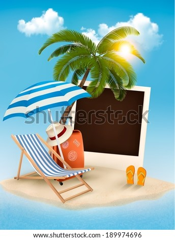 Beach with a palm tree, a photograph and a beach chair. Summer vacation concept background. Vector.  - stock vector