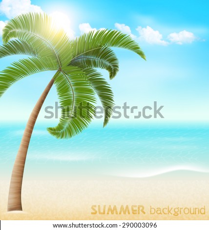 Beach with palm and clouds. Summer vacation holiday background - stock vector