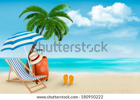 Beach with palm trees and beach chair. Summer vacation concept background. Vector.  - stock vector