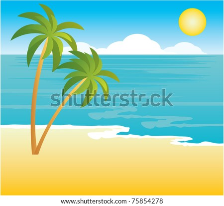 Beach with palm trees. vector, gradient - stock vector