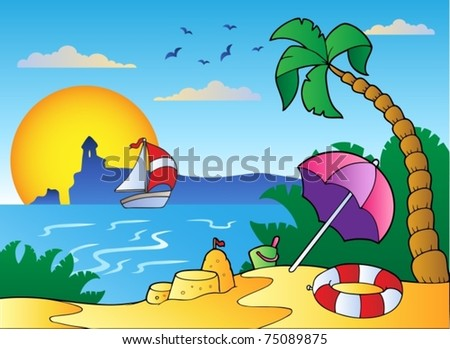 Beach with umbrella and sand castle - vector illustration. - stock vector