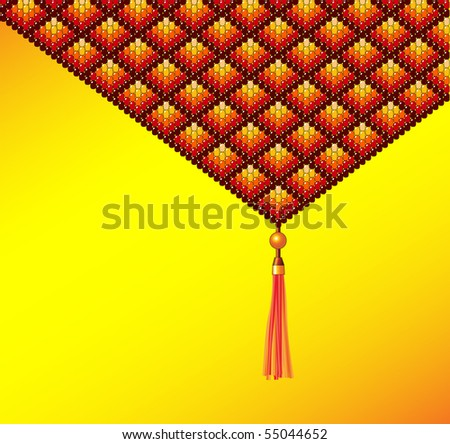 Beadwork background with tassel in earth tones. Space for text - stock vector