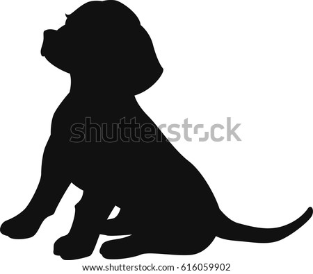 beagle dog sitting vector silhouette
