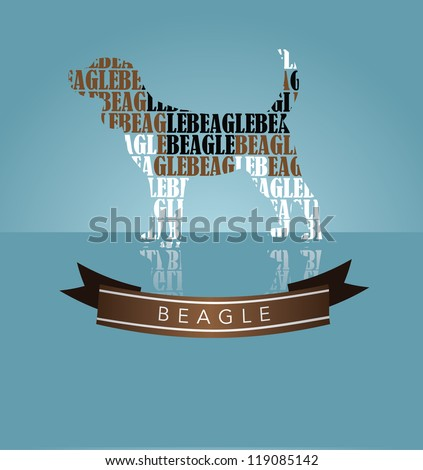 Beagle Silhouette with Banner - stock vector