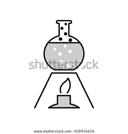 Beaker with boiling water on gas burner icon. Laboratory chemistry icon. isolated. Scientific icon. Alcoholic lamp or burner with beaker. Beaker  icon. chemistry icon. Lab icon. Scientific flat icon - stock vector