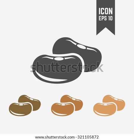 Beans seed isolated vector black icon and its color version