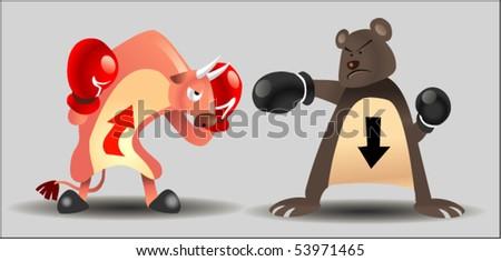 bear and bull market character - stock vector