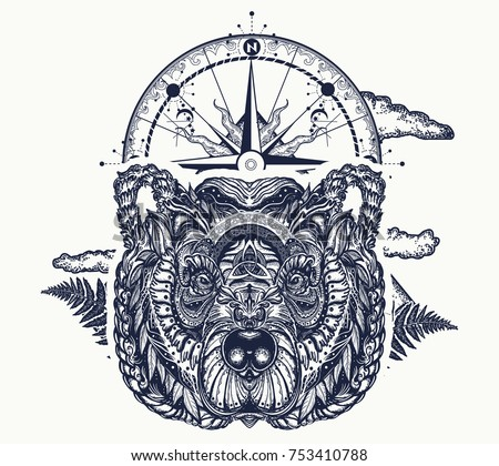 Bear and compass tattoo and t-shirt design. Symbol of force, tourism, adventure, outdoors, wild nature