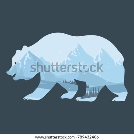 Bear and nature double exposure, stylized animal profile silhouette with forest, sky, rocky mountain winter landscape. Wildlife adventure modern stylish trend. Vector