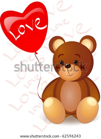 """bear and red heart with text """"Love"""" - stock vector"""