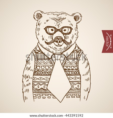 Bear Businessmen Portrait Hipster Style Human Clothes Accessory Wearing Pullover Glasses Tie Engraving Pen