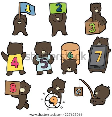 bear cartoon number set , vector - stock vector
