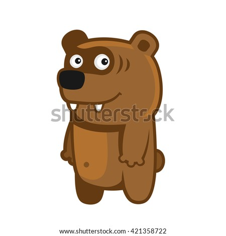 Bear. Cartoon Style Funny Animal on White Background. Vector illustration