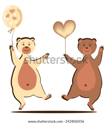 Bear cubs with a heart and a ball.Two cheerful bears dance - stock vector