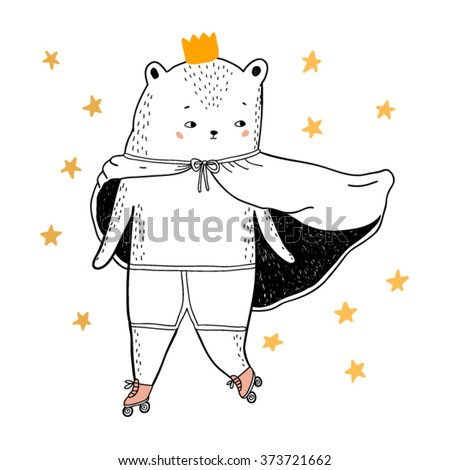 bear drawing - funny vector children illustration