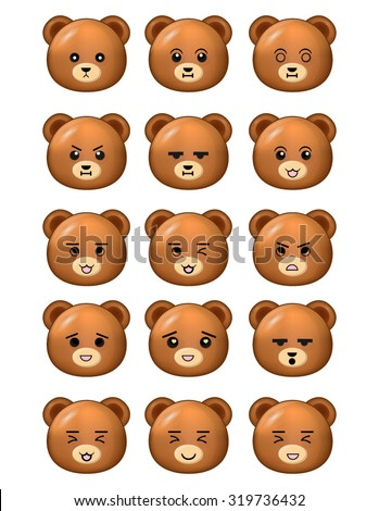Bear Emoticons Set Different Expressions - stock vector