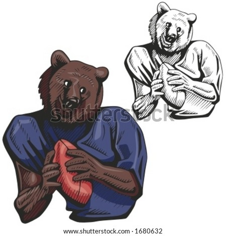 Bear Football Mascot for sport teams. Great for t-shirt designs, school mascot logo and any other design work. Ready for vinyl cutting. - stock vector