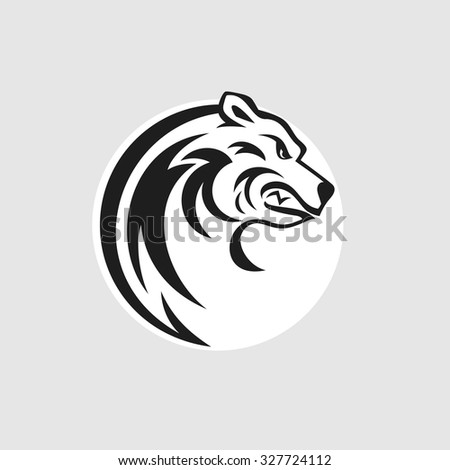 Bear head logo or icon in black and white. Vector illustration. - stock vector