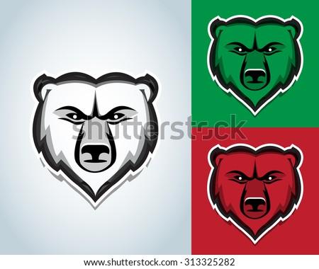 Bear head mascot illustration. Black and white version. T-shirt vector design. - stock vector